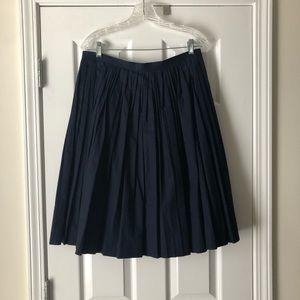 J.Crew Pleated Poplin Midi Skirt, Size 10